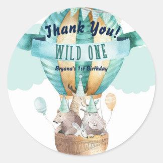 Animal Adventure Watercolor Boho WILD ONE 1 1st Classic Round Sticker