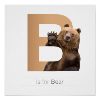 Animal Alphabet Nursery Wall Art. B - Bear Poster