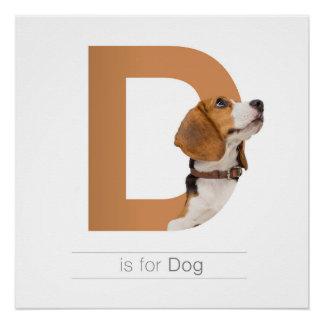 Animal Alphabet Nursery Wall Art. D is for Dog.