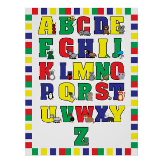 Animal Alphabet Poster (Primary Colors) Print