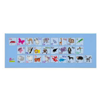 Animal Alphabets on blue Poster