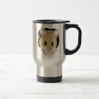 Animal Art Cute Mouse Peeking Out Watercolor art Travel Mug