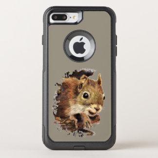 Animal Art Cute Squirrel Peeking Out Watercolor OtterBox Commuter iPhone 8 Plus/7 Plus Case
