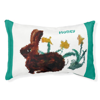 Animal Art Daffodils and a Rabbit Pet Bed