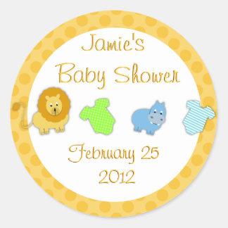 animal baby shower favour round sticker