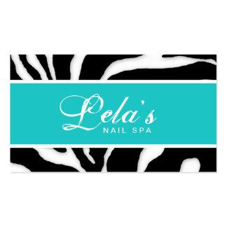 Animal Business Card Zebra Nail Salon Blue Angle