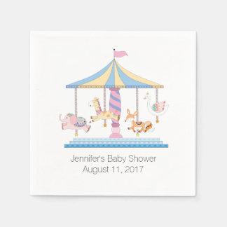 Animal Carousel Baby Shower Paper Napkins Disposable Napkin