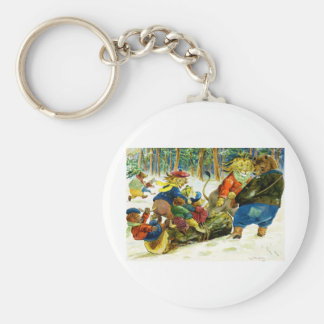 Animal Christmas - Getting the Yule Log Basic Round Button Key Ring