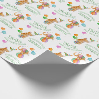 Animal circus art custom baby shower wrap wrapping paper