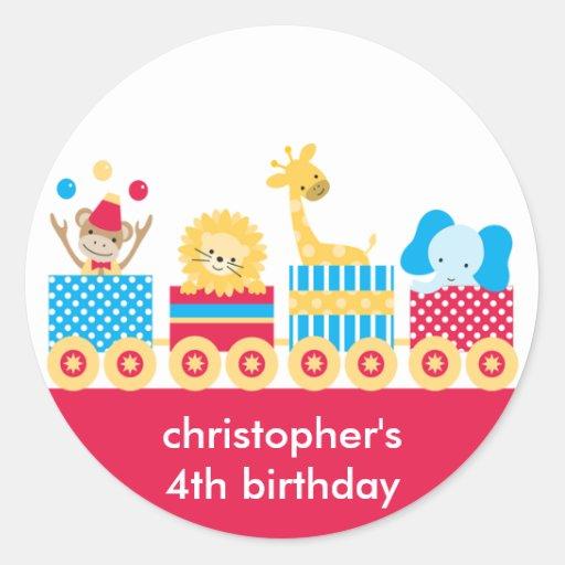 Animal Circus Train Birthday Stickers Round Stickers