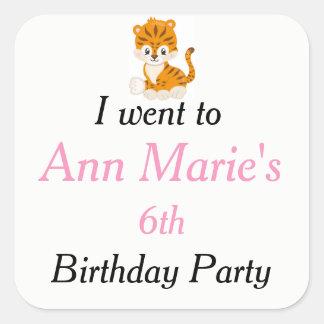 Animal Circus Train Kids Birthday 'I went to' Square Sticker