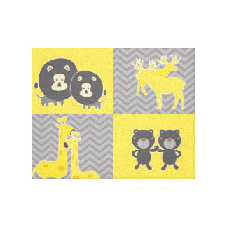 Animal collage on plain and zigzag chevron gallery wrapped canvas