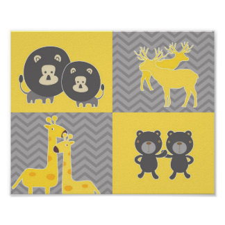 Animal collage on plain and zigzag chevron poster