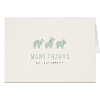 Animal Cookie Thank You Card - Mint