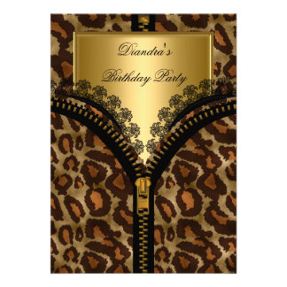 Animal Gold Corset Black Lace Birthday Party Invite