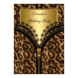 "Animal Gold Corset Black Lace Birthday Party 5"" X 7"" Invitation Card"