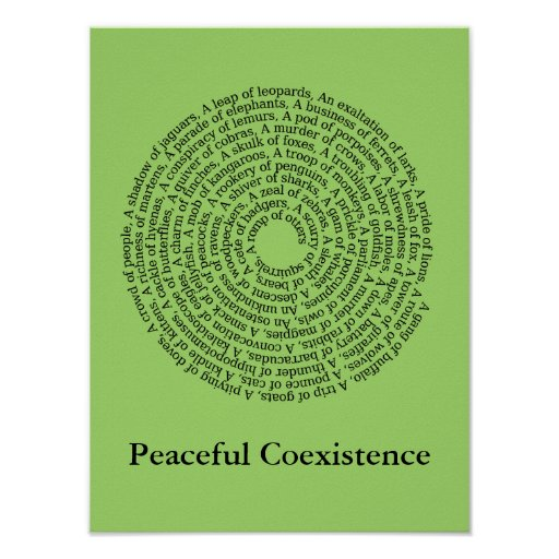 Animal Group Names/Peaceful Coexistence Poster Poster