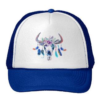 Animal Head Skull And Flowers Cap
