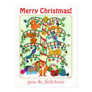 Animal Holiday Tree of Life Custom Text Christmas Postcard