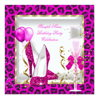 "Animal Hot Pink Gold Glitter Heels Birthday Party 5.25"" Square Invitation Card"