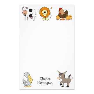 Animal illustrations custom name kids' stationary customised stationery