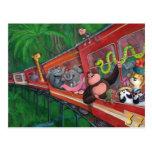 Animal Jungle Train Postcards