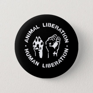 Animal Liberation Human Liberation 6 Cm Round Badge