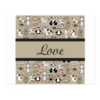 Animal Love Cuteness Postcard
