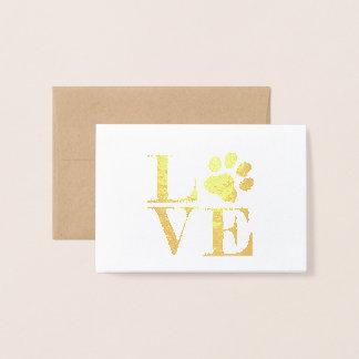 Animal Love (paw print) Gold Foil Notecards Foil Card