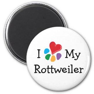 Animal Lover_I Heart My Rottweiler 6 Cm Round Magnet