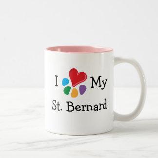 Animal Lover_I Heart My St. Bernard Two-Tone Mug