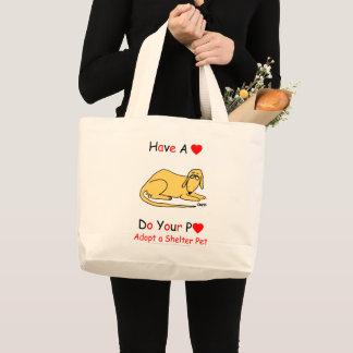 Animal Lover Sad Cartoon Dog Adopt A Shelter Pet Large Tote Bag