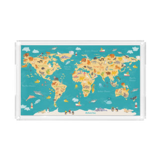 Animal Map of the World For Kids Acrylic Tray