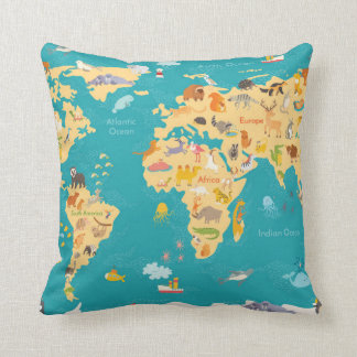Animal Map of the World For Kids Cushion