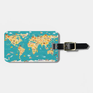 Animal Map of the World For Kids Luggage Tag