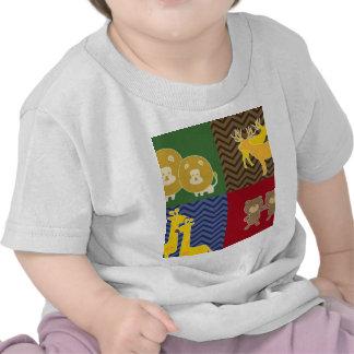 Animal on zigzag chevron collage tee shirts