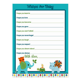 Animal Parade Wishes for Baby Advice Cards Postcard