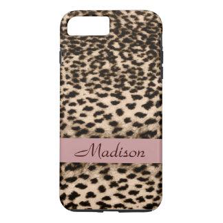 Animal pattern, brown, pink, monogram iPhone 8 plus/7 plus case
