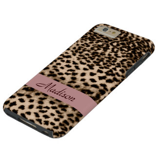 Animal pattern, brown, pink, monogram tough iPhone 6 plus case