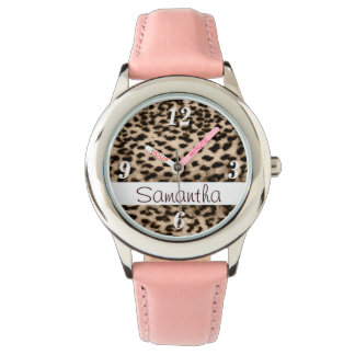 Animal pattern, brown, pink, monogram wrist watch