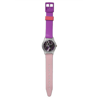 Animal Pattern Purple Girl Pink Chic Peace Love Wristwatch