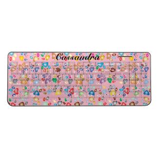 Animal Paw Print On Pink Wireless Keyboard