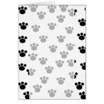 Animal Paw Print Pattern. Black and White. Greeting Card