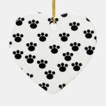 Animal Paw Print Pattern. Black and White. Christmas Tree Ornaments