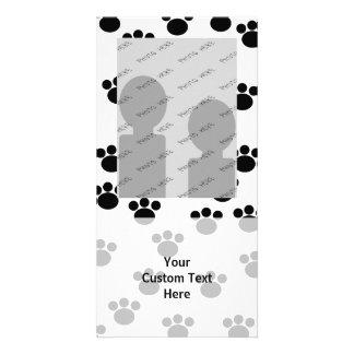 Animal Paw Print Pattern. Black and White. Photo Greeting Card
