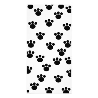 Animal Paw Print Pattern. Black and White. Picture Card