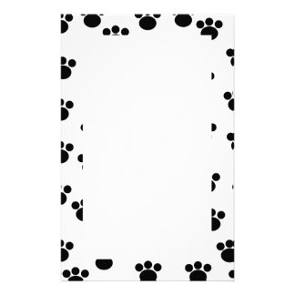 Animal Paw Print Pattern. Black and White. Stationery