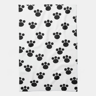 Animal Paw Print Pattern. Black and White. Tea Towel