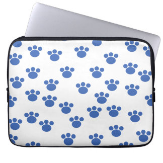 Animal Paw Print Pattern. Blue and White. Laptop Sleeve