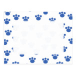Animal Paw Print Pattern. Blue and White. Postcard